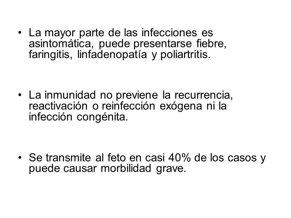 La mayor parte de las infecciones es asintomática, puede presentarse fiebre, faringitis, linfadenopatía y poliartritis.