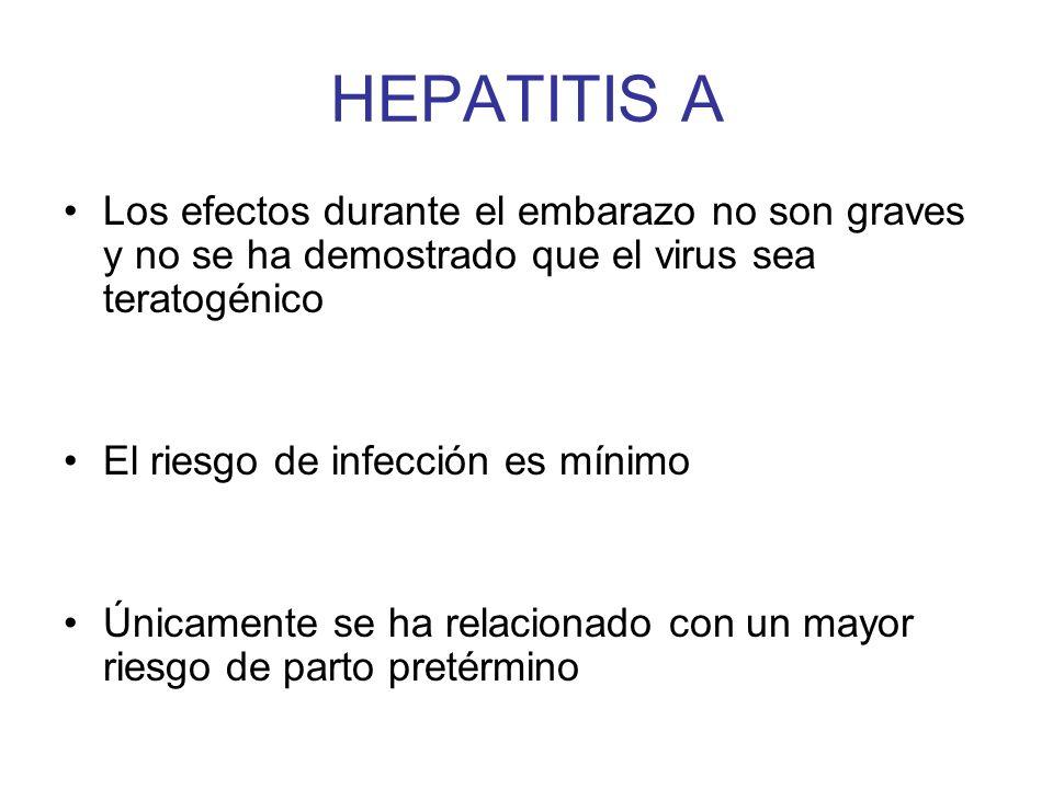 HEPATITIS A Los efectos durante el embarazo no son graves y no se ha demostrado que el virus sea teratogénico.