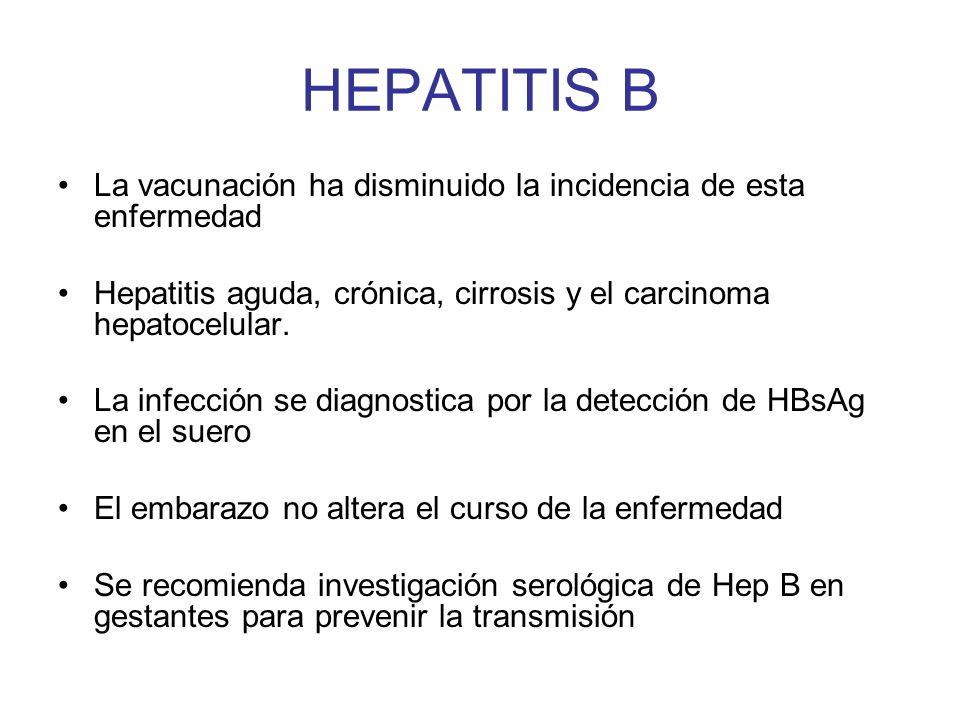 HEPATITIS B La vacunación ha disminuido la incidencia de esta enfermedad. Hepatitis aguda, crónica, cirrosis y el carcinoma hepatocelular.