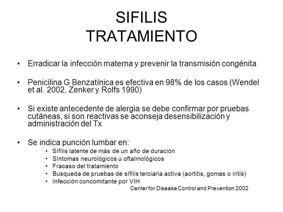 SIFILIS TRATAMIENTO Erradicar la infección materna y prevenir la transmisión congénita.