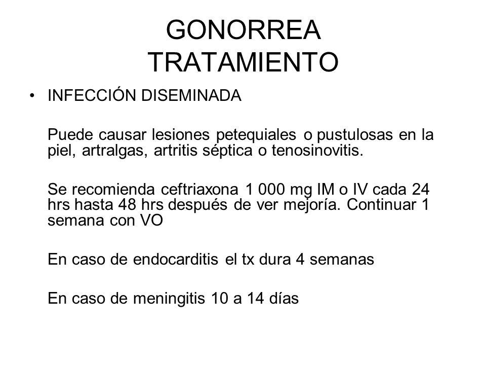 GONORREA TRATAMIENTO INFECCIÓN DISEMINADA