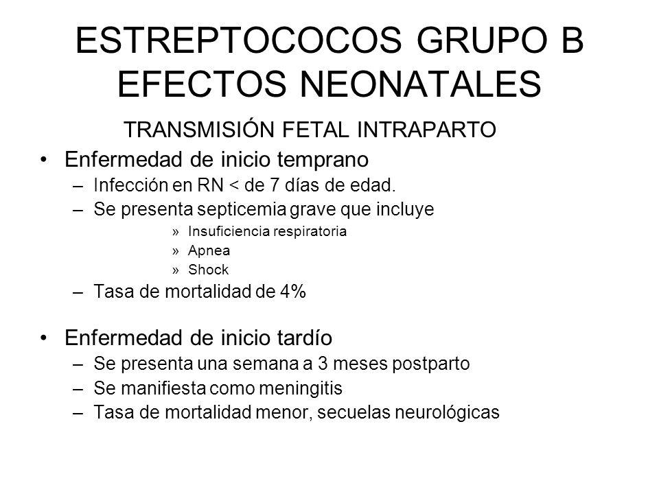 ESTREPTOCOCOS GRUPO B EFECTOS NEONATALES