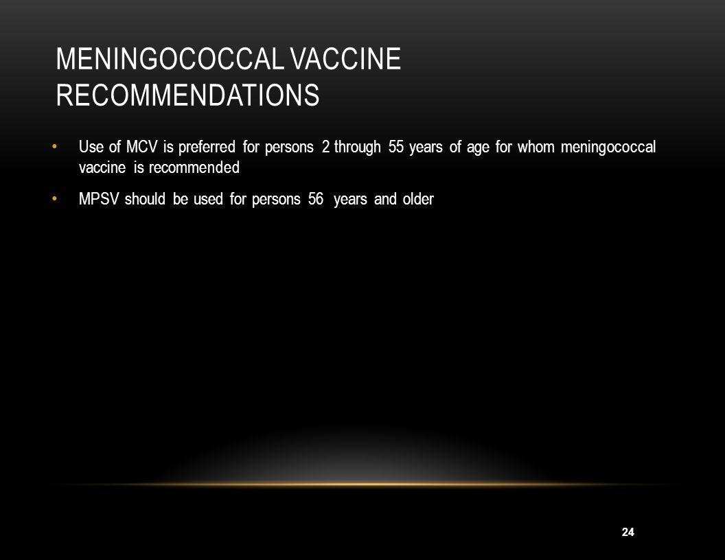 Meningococcal Vaccine Recommendations