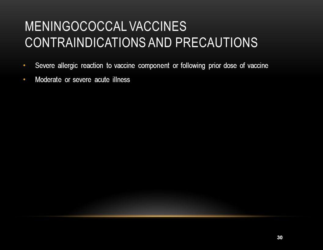 Meningococcal Vaccines Contraindications and Precautions