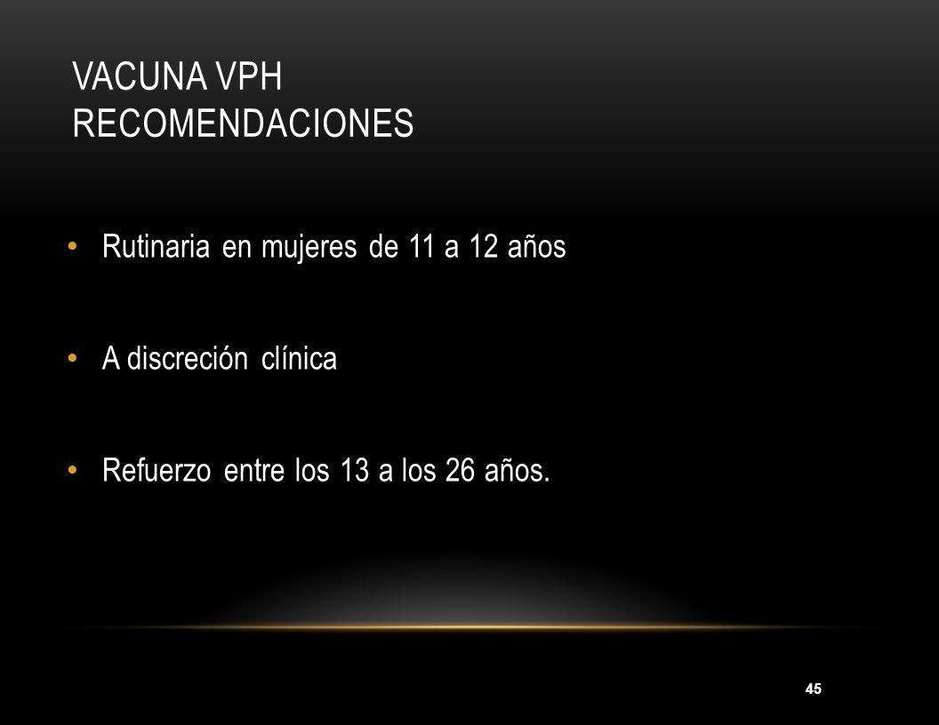 Vacuna VPH Recomendaciones