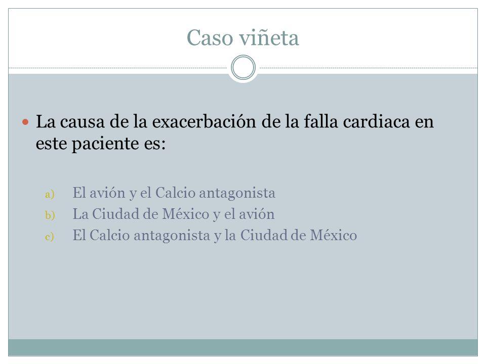 Caso viñeta La causa de la exacerbación de la falla cardiaca en este paciente es: El avión y el Calcio antagonista.