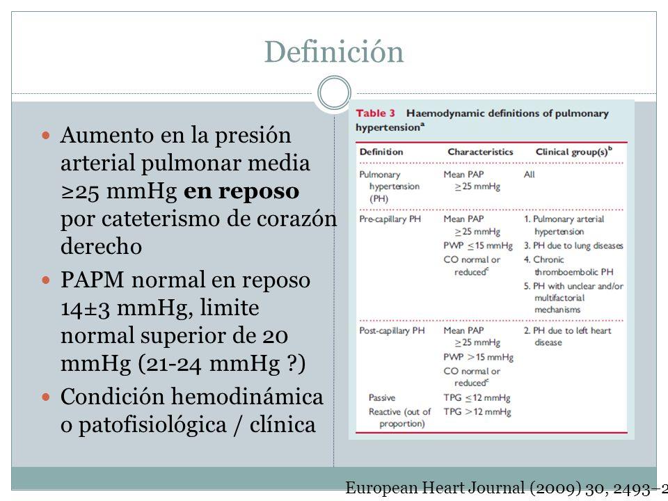 Definición Aumento en la presión arterial pulmonar media ≥25 mmHg en reposo por cateterismo de corazón derecho.