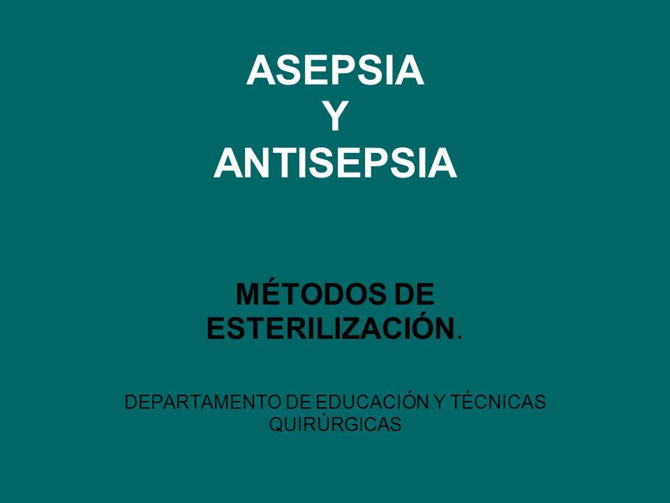 ASEPSIA Y ANTISEPSIA MÉTODOS DE ESTERILIZACIÓN.