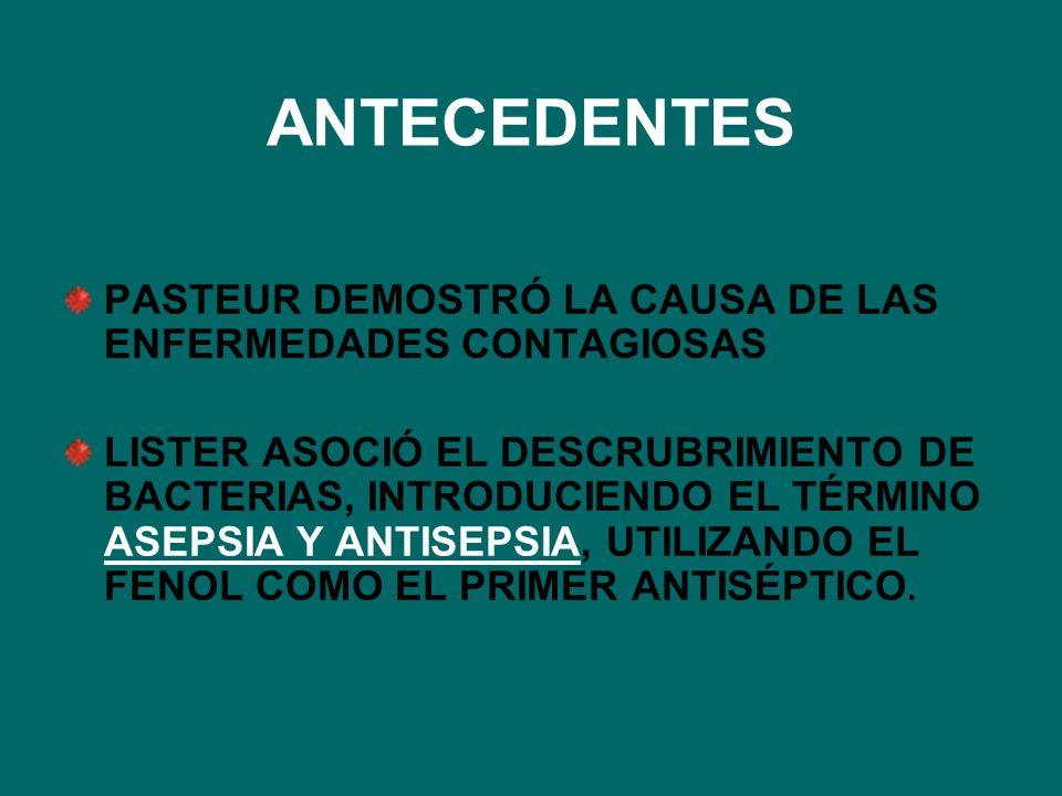 ANTECEDENTES PASTEUR DEMOSTRÓ LA CAUSA DE LAS ENFERMEDADES CONTAGIOSAS