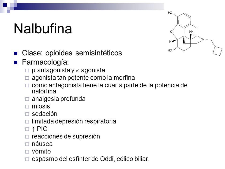 Nalbufina Clase: opioides semisintéticos Farmacología:
