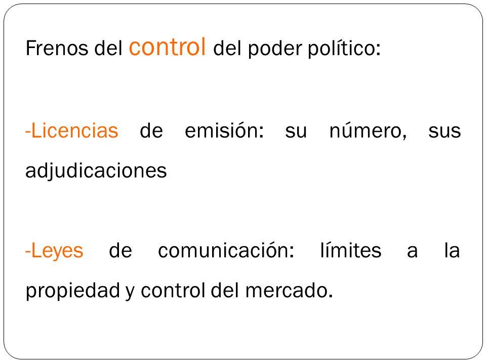 Frenos del control del poder político: