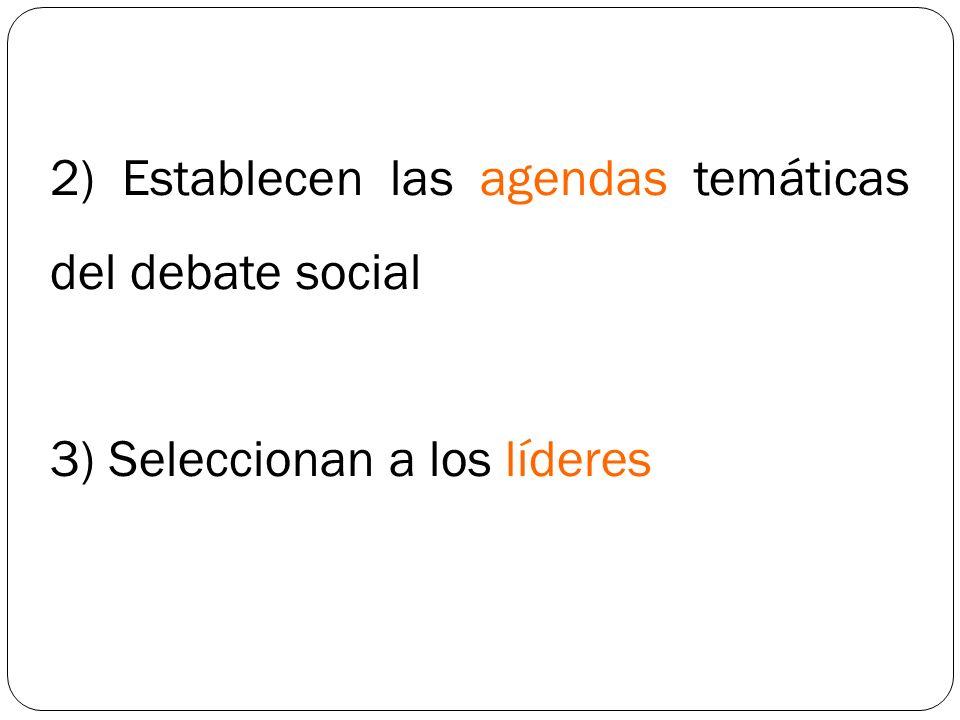 2) Establecen las agendas temáticas del debate social