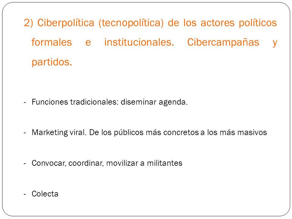 2) Ciberpolítica (tecnopolítica) de los actores políticos formales e institucionales. Cibercampañas y partidos.