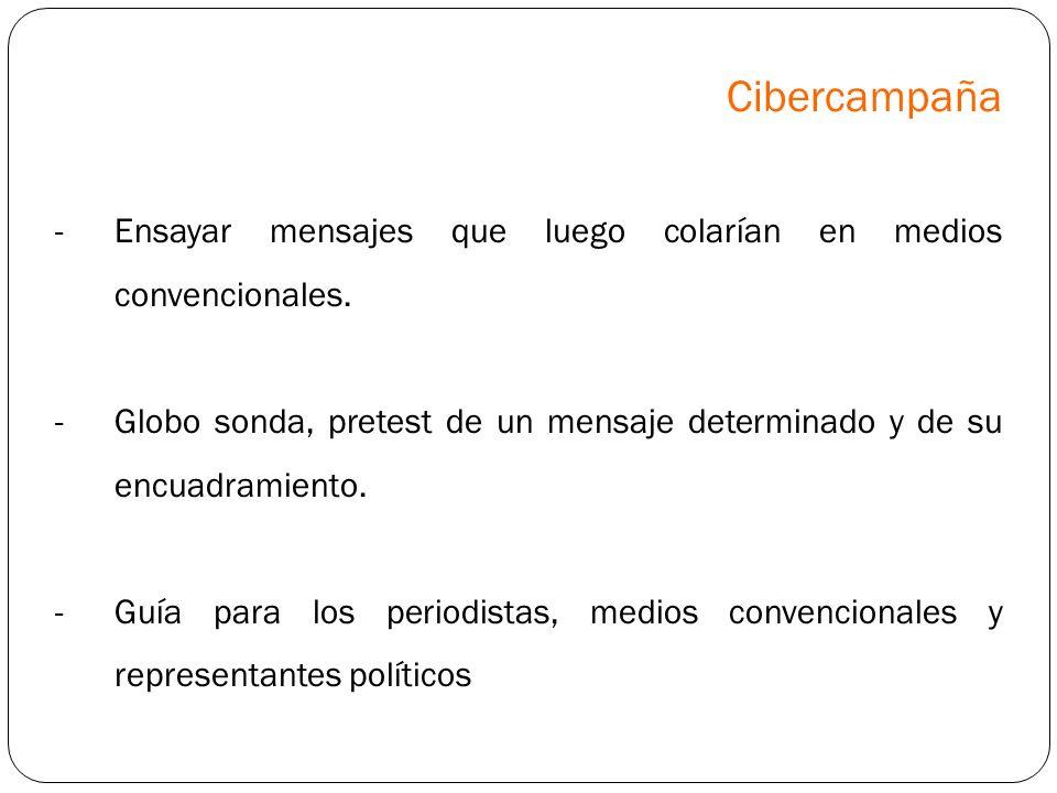 Cibercampaña Ensayar mensajes que luego colarían en medios convencionales. Globo sonda, pretest de un mensaje determinado y de su encuadramiento.