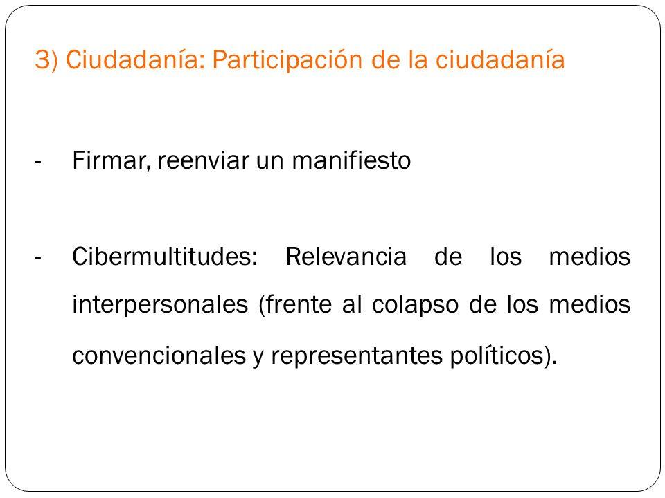 3) Ciudadanía: Participación de la ciudadanía
