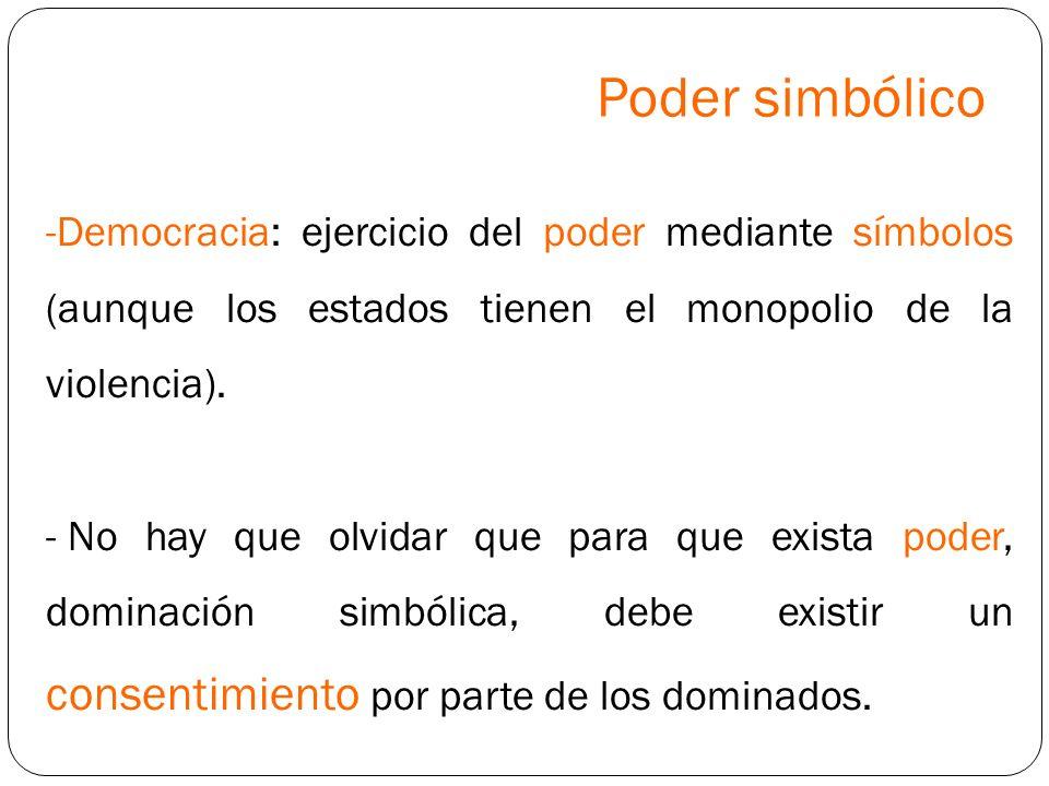 Poder simbólico Democracia: ejercicio del poder mediante símbolos (aunque los estados tienen el monopolio de la violencia).