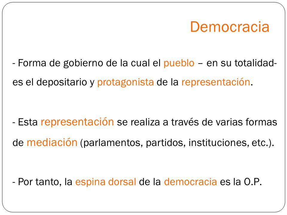 Democracia Forma de gobierno de la cual el pueblo – en su totalidad- es el depositario y protagonista de la representación.