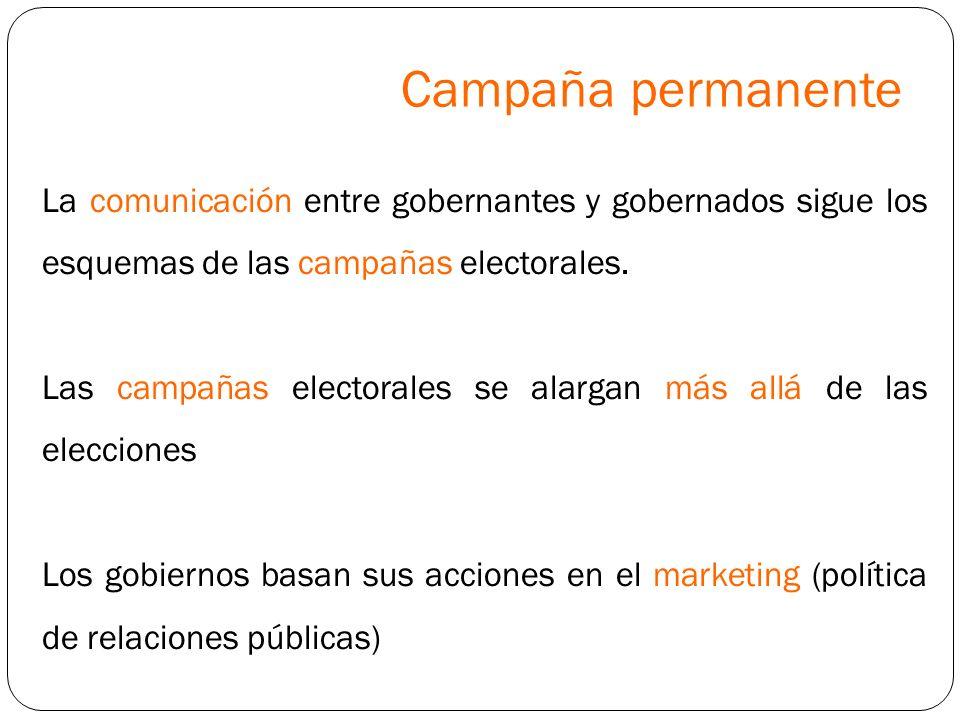 Campaña permanente La comunicación entre gobernantes y gobernados sigue los esquemas de las campañas electorales.