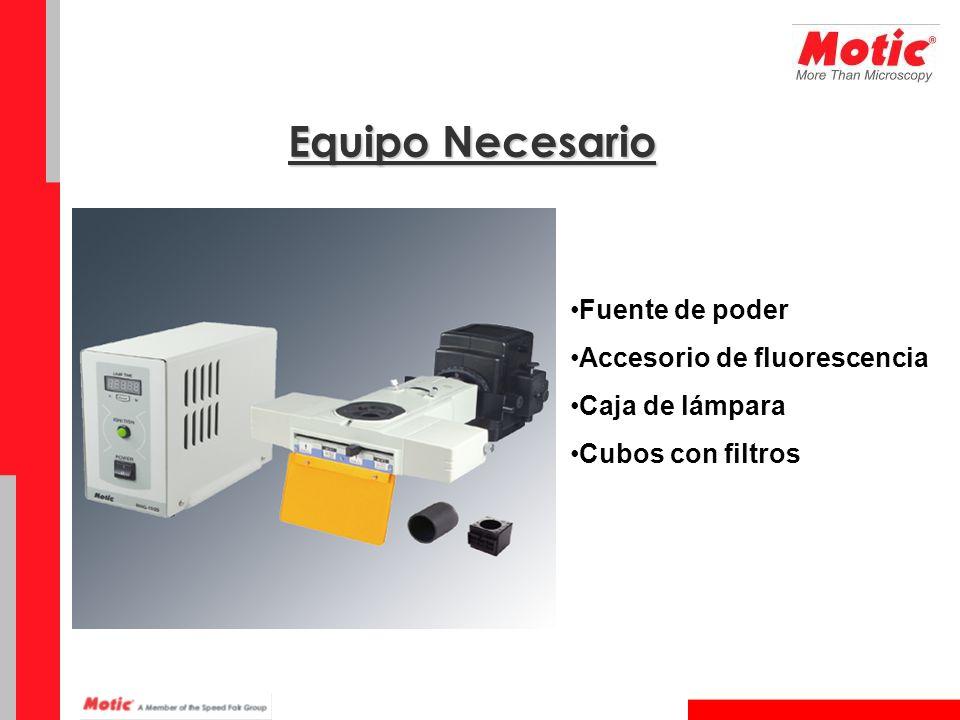 Equipo Necesario Fuente de poder Accesorio de fluorescencia