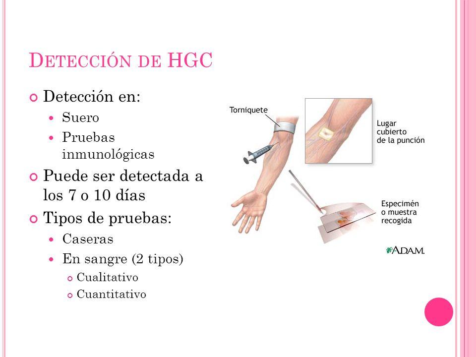 Detección de HGC Detección en: Puede ser detectada a los 7 o 10 días