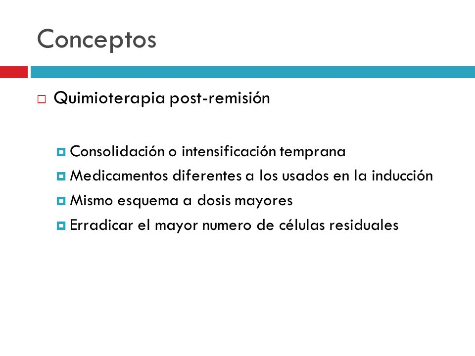 Conceptos Quimioterapia post-remisión