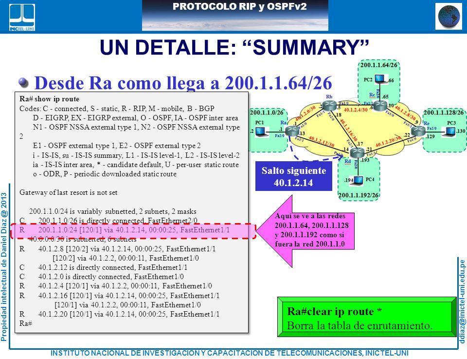 UN DETALLE: SUMMARY Desde Ra como llega a 200.1.1.64/26