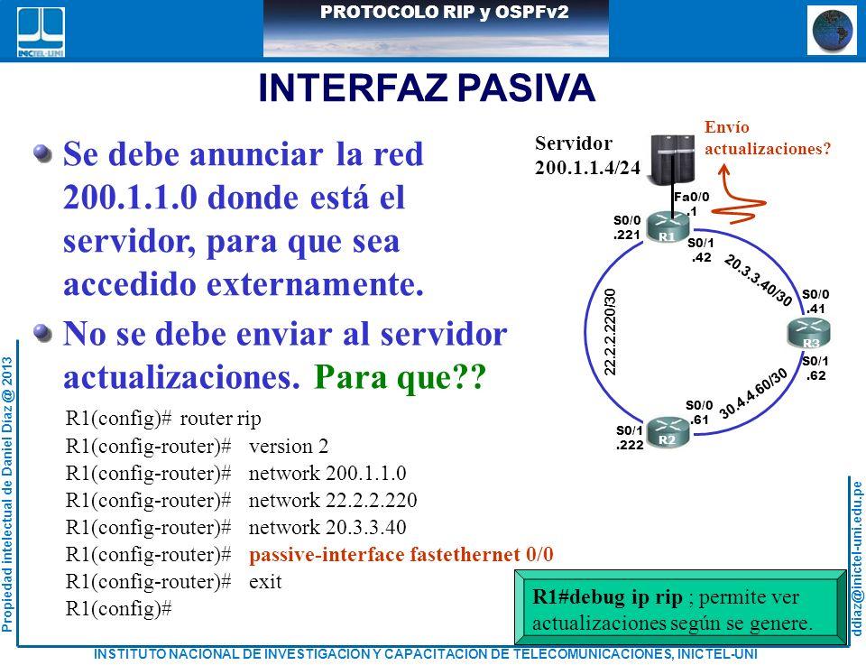 INTERFAZ PASIVA Se debe anunciar la red 200.1.1.0 donde está el
