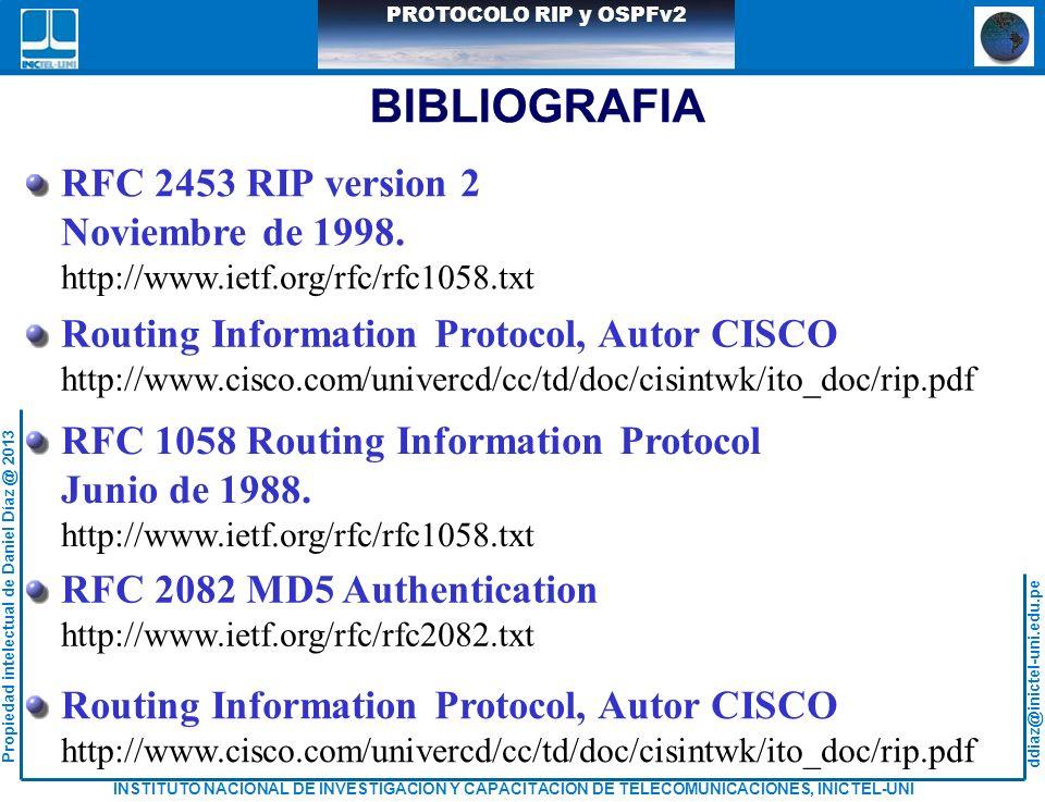 BIBLIOGRAFIA RFC 2453 RIP version 2 Noviembre de 1998.