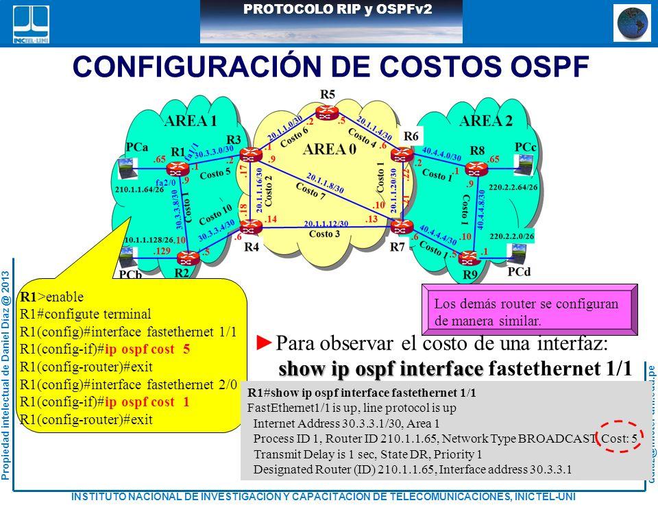 CONFIGURACIÓN DE COSTOS OSPF