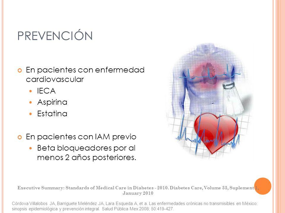 PREVENCIÓN En pacientes con enfermedad cardiovascular IECA Aspirina
