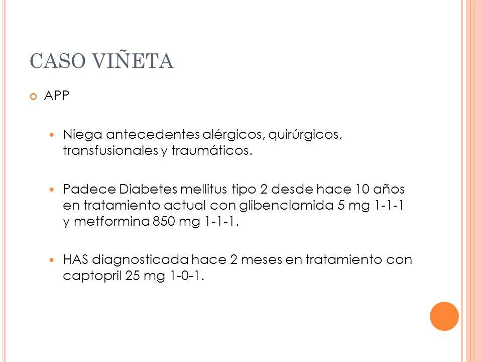 CASO VIÑETA APP. Niega antecedentes alérgicos, quirúrgicos, transfusionales y traumáticos.
