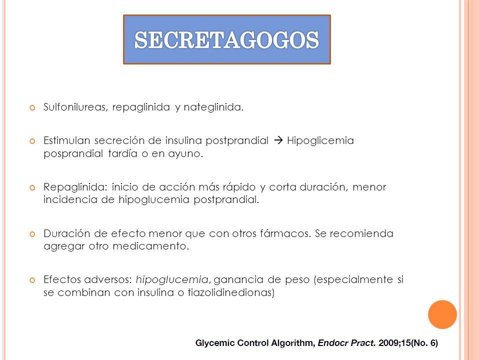 SECRETAGOGOS Sulfonilureas, repaglinida y nateglinida.