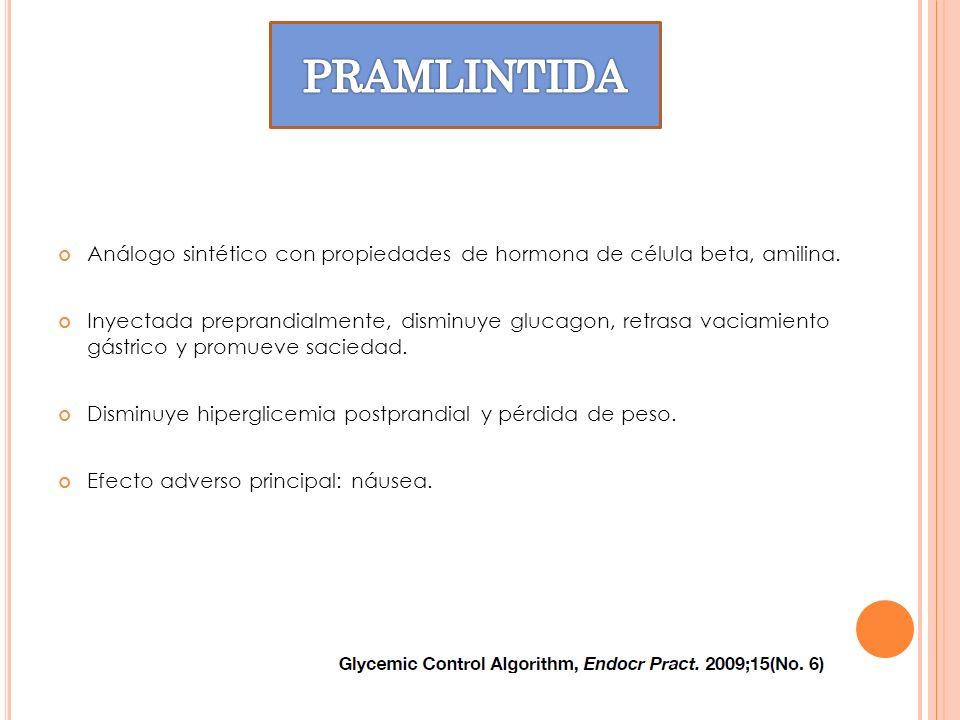 PRAMLINTIDAAnálogo sintético con propiedades de hormona de célula beta, amilina.