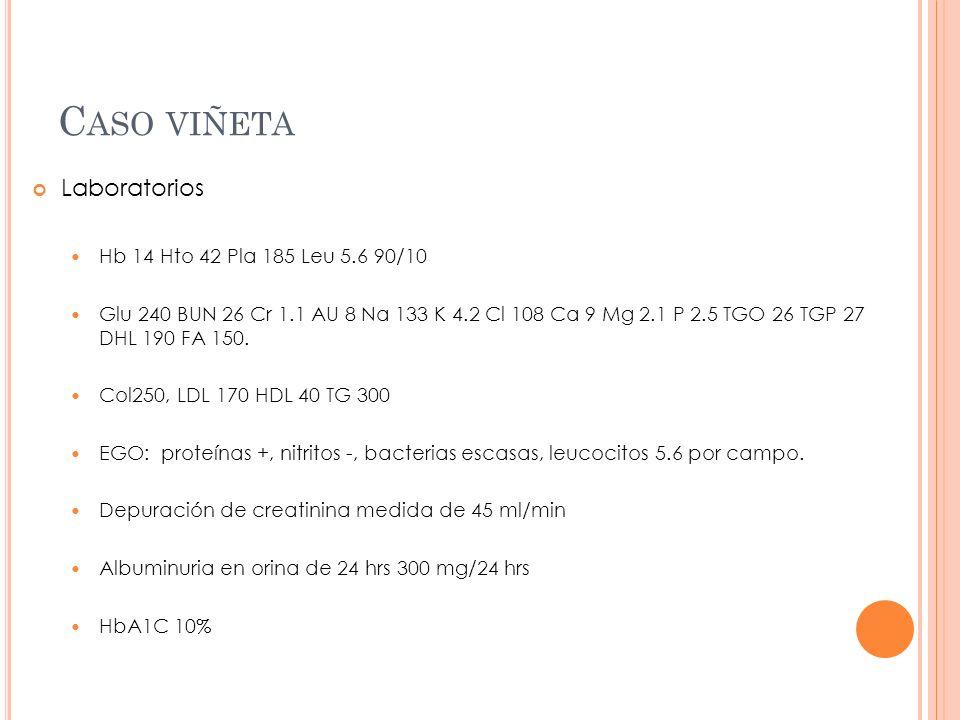 Caso viñeta Laboratorios Hb 14 Hto 42 Pla 185 Leu 5.6 90/10