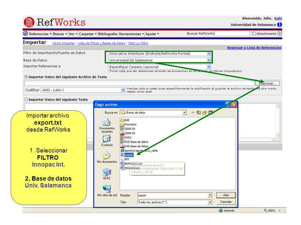 Importar archivo export.txt. desde RefWorks. 1. Seleccionar. FILTRO. Innopac Int. 2, Base de datos.