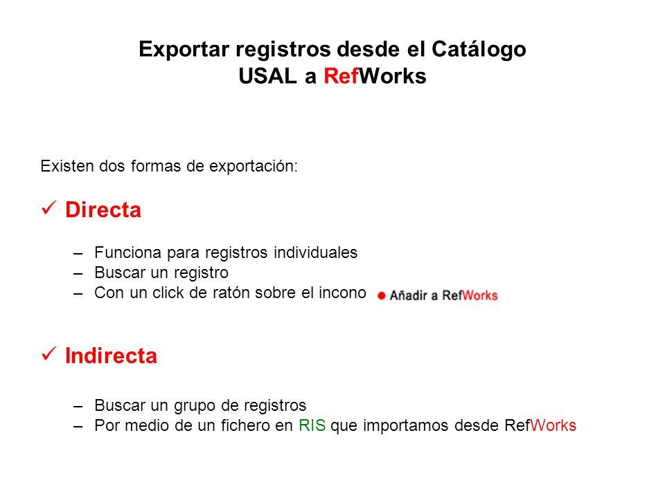 Exportar registros desde el Catálogo USAL a RefWorks