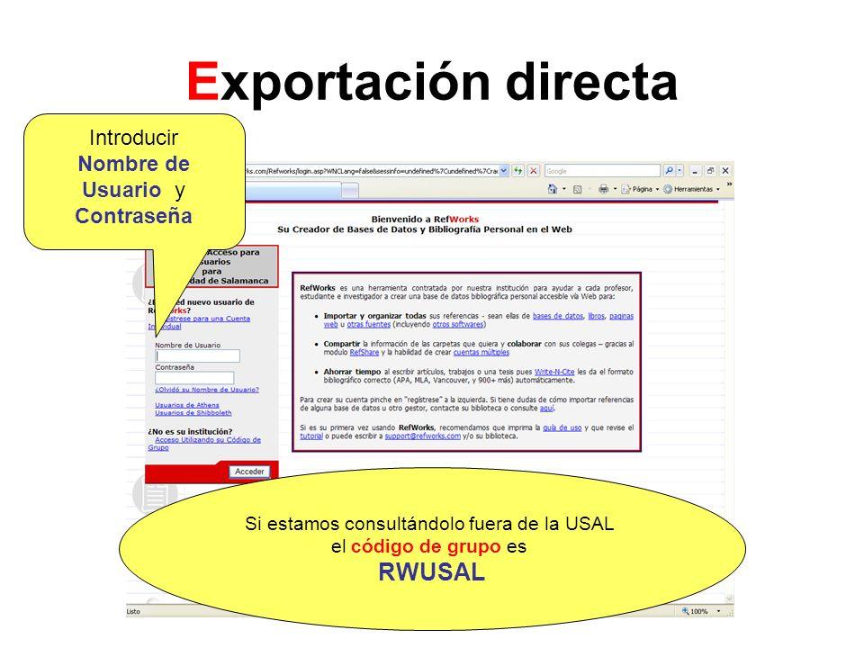 Exportación directa RWUSAL Introducir Nombre de Usuario y Contraseña