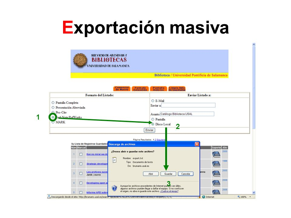 Exportación masiva 1 2 3