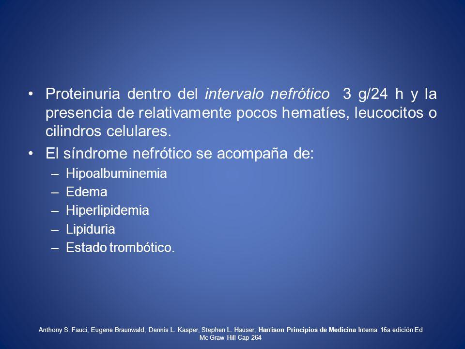 El síndrome nefrótico se acompaña de:
