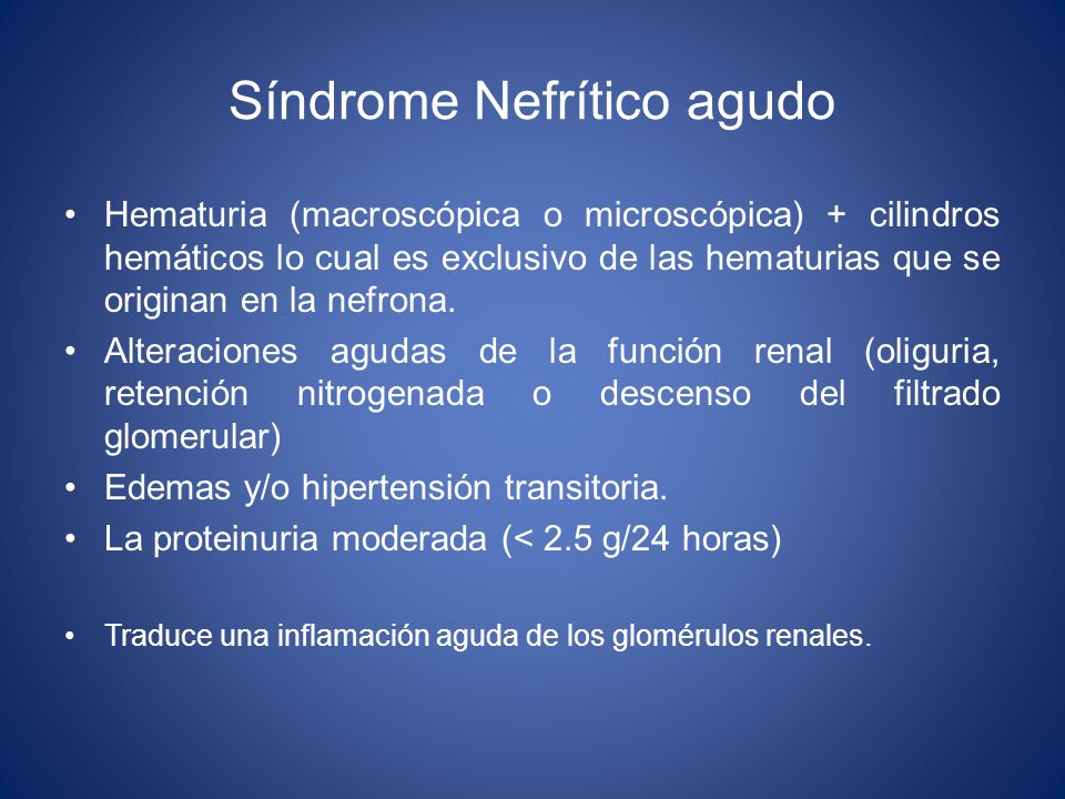 Síndrome Nefrítico agudo