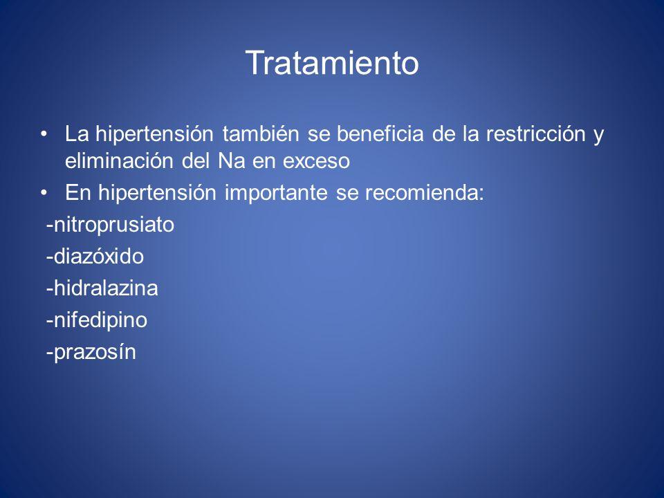 TratamientoLa hipertensión también se beneficia de la restricción y eliminación del Na en exceso. En hipertensión importante se recomienda: