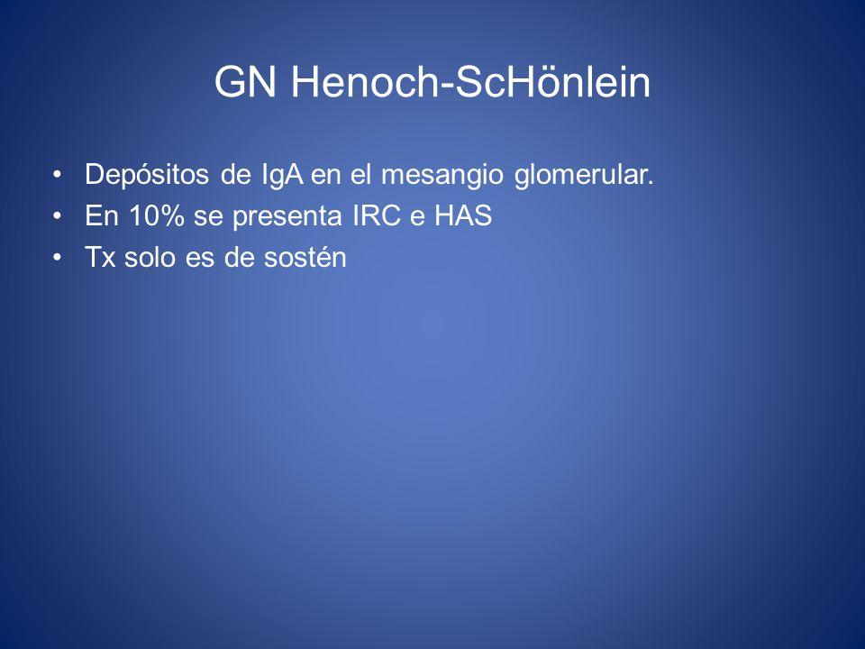 GN Henoch-ScHönlein Depósitos de IgA en el mesangio glomerular.