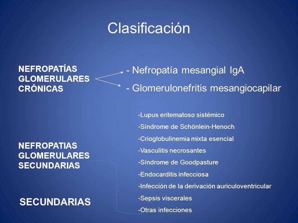 Clasificación - Nefropatía mesangial IgA