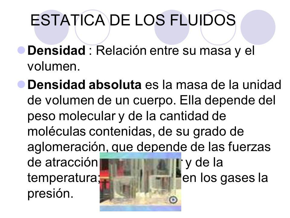ESTATICA DE LOS FLUIDOS