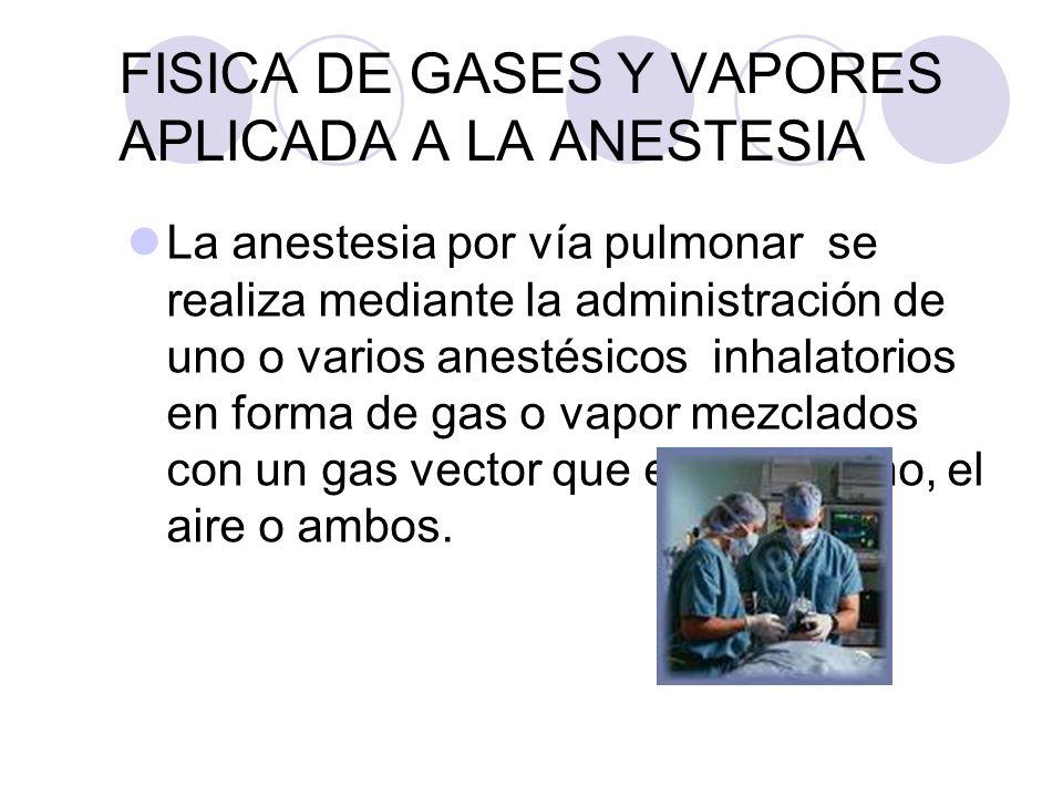 FISICA DE GASES Y VAPORES APLICADA A LA ANESTESIA