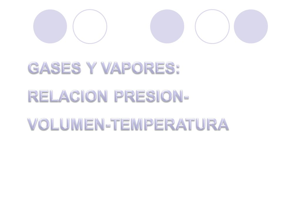 GASES Y VAPORES: RELACION PRESION-VOLUMEN-TEMPERATURA