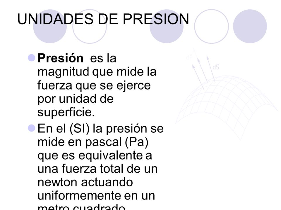 UNIDADES DE PRESION Presión es la magnitud que mide la fuerza que se ejerce por unidad de superficie.