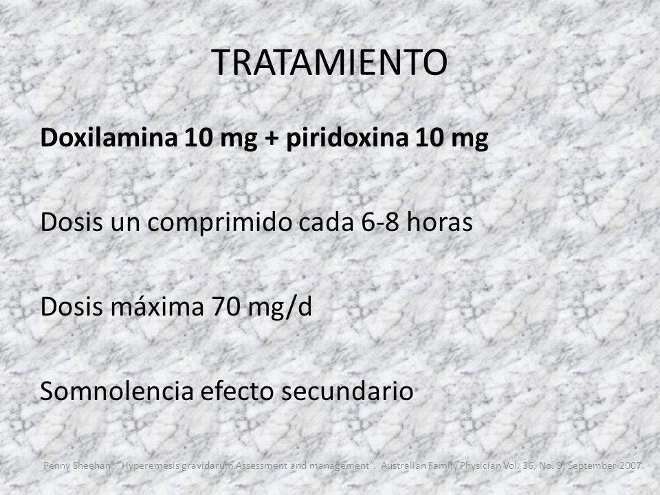 TRATAMIENTO Doxilamina 10 mg + piridoxina 10 mg Dosis un comprimido cada 6-8 horas Dosis máxima 70 mg/d Somnolencia efecto secundario