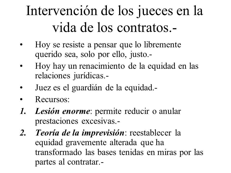 Intervención de los jueces en la vida de los contratos.-