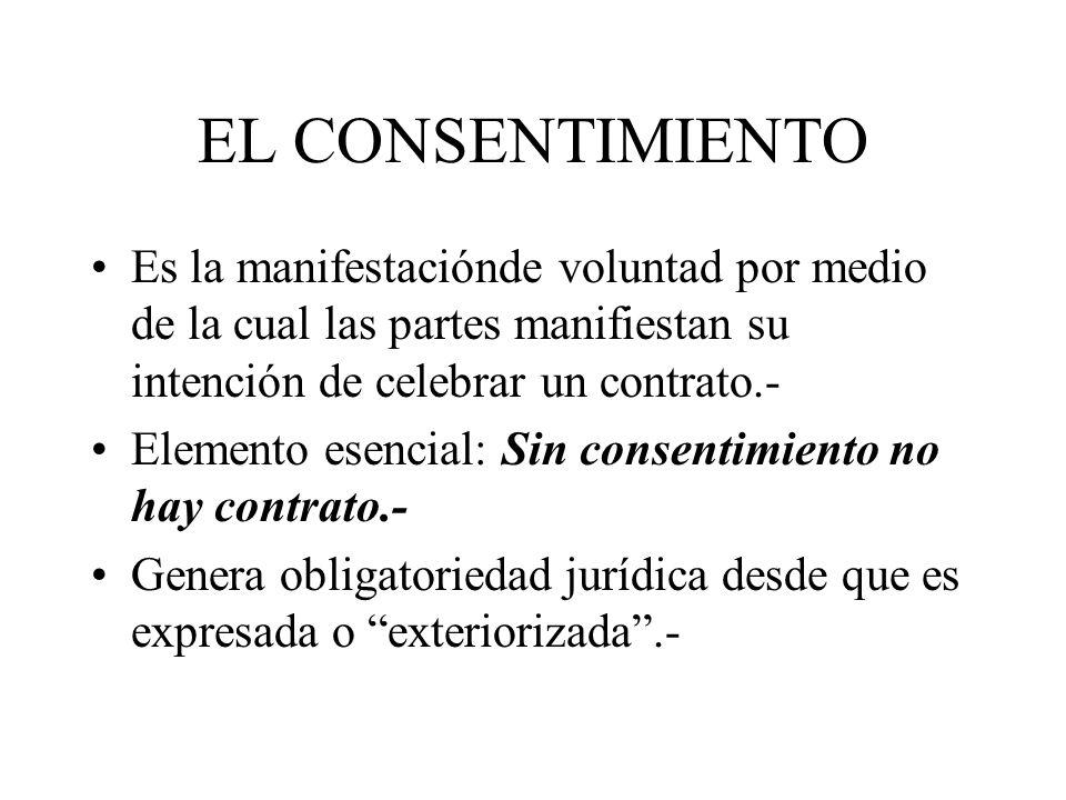EL CONSENTIMIENTO Es la manifestaciónde voluntad por medio de la cual las partes manifiestan su intención de celebrar un contrato.-